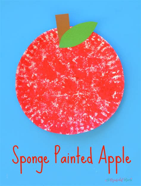 Sponge Paper Craft - sponge painted apple craft for the resourceful
