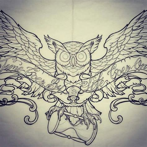 chest tattoo designs drawings owl with hourglass http ideas us
