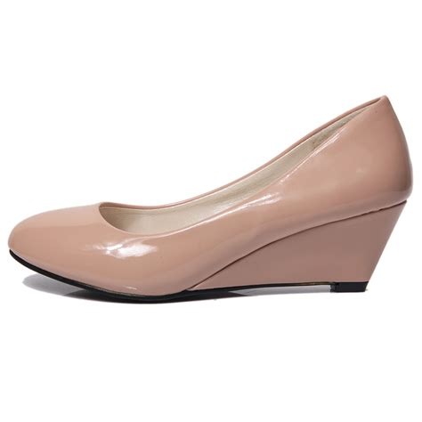 wedges shoes pointed toe patent leather work casual