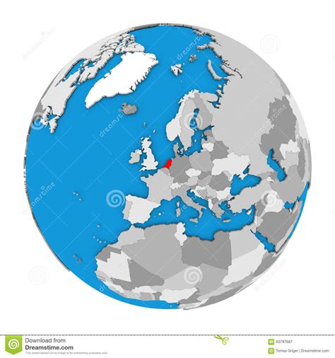 netherlands globe map netherlands on globe stock illustration image 83797687