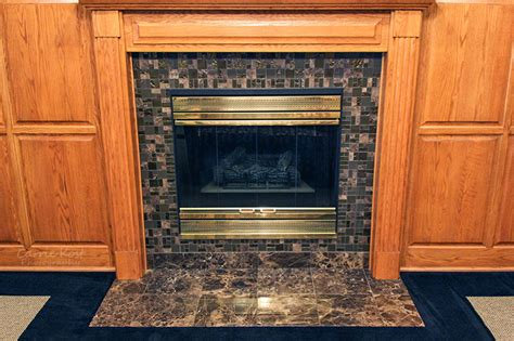 Glass Mosaic Fireplace Surround by Glass Mosaic Tiled Fireplace Precision Floors D 233 Cor