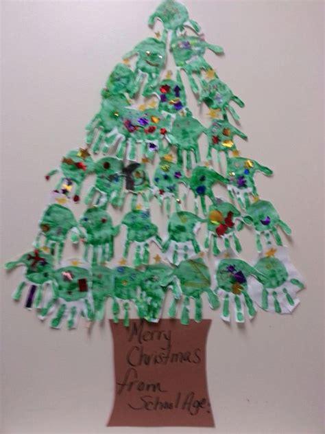 handprint christmas tree school age children painted
