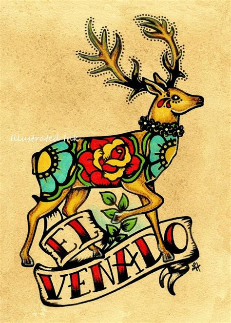 traditional mexican tattoos mexican folk deer el venado loteria print tats