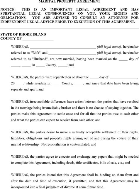 marital settlement agreement template rhode island divorce papers free premium