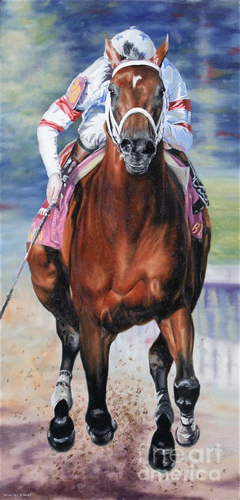 big brown big brown charging the stretch painting by allen pauly