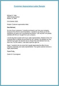Customer Template by Customer Thank You Letter 5 Plus Sle Letter Templates