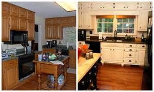oak kitchen cabinets painted white with black island and