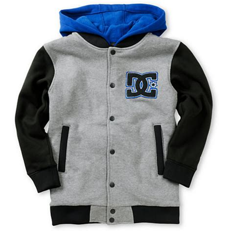 Jaket Flace Dc dc boys stax fleece grey hooded varsity jacket at