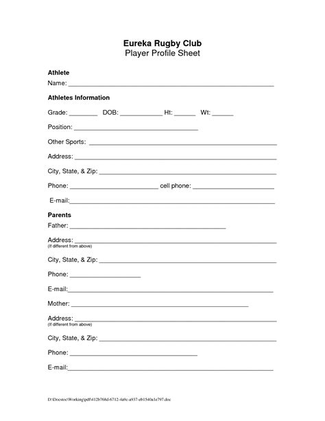 player profile template player profile sheet pictures to pin on pinsdaddy