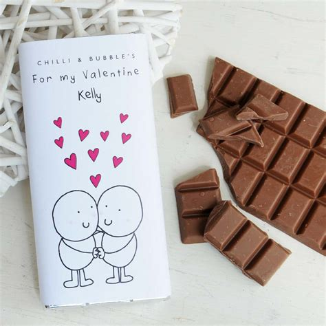 personalised chilli and bubble s valentines chocolate bar