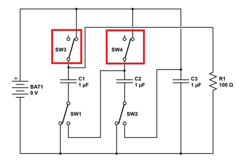 diode capacitor parallel circuit capacitor solid state circuit to charge caps in parallel then discharge in series
