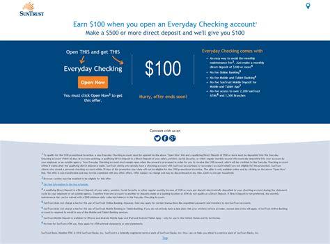 Bank Letter For Direct Deposit Suntrust Expired 100 Suntrust Checking Account Bonus With A 500 Direct Deposit Doctor Of Credit