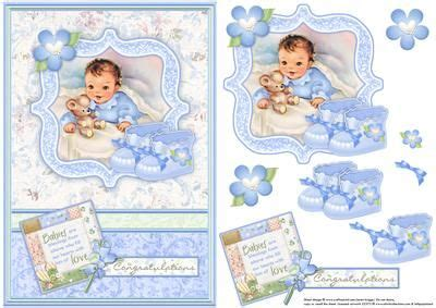 Baby Decoupage - new baby boy bootees vintage decoupage card