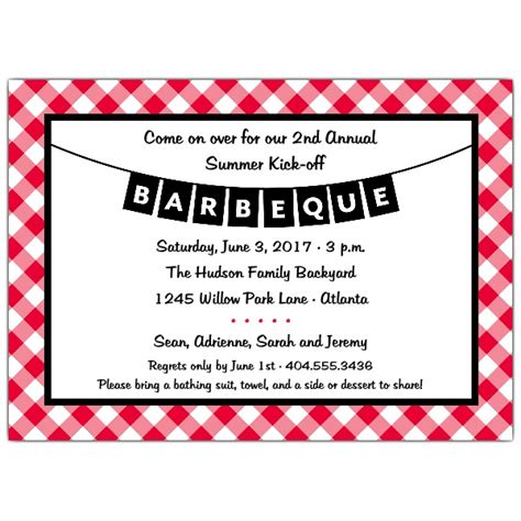 Bbq red and black invitations paperstyle