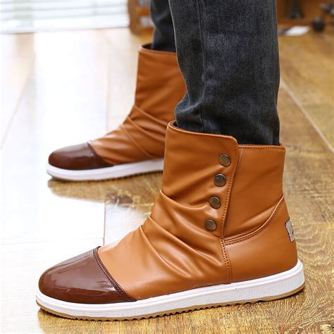 s winter flats high top casual shoes leather slip on