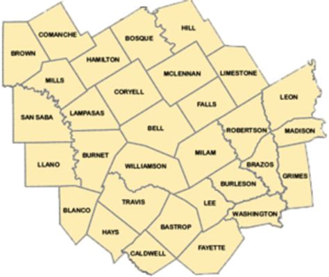 county map of central texas central texas crime prevention association regional affiliate for the texas crime prevention