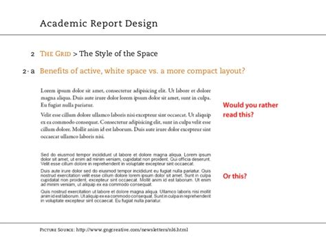 explain the layout of a report academic report design