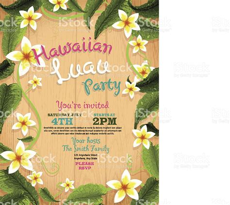 Garden Party Formal - hawaiian luau invitation design template with flowers and wood background stock vector art