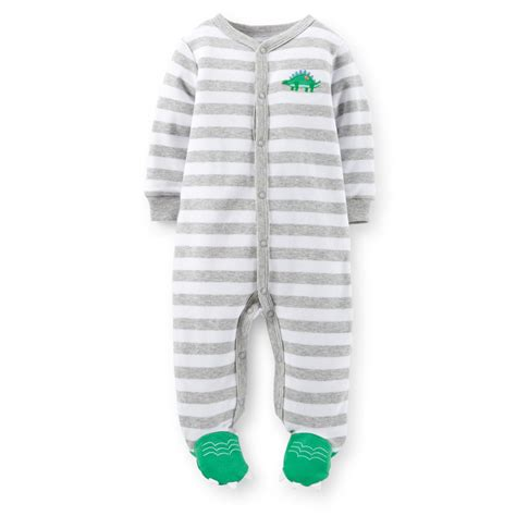 s newborn boy s snap front sleeper pajamas dinosaur