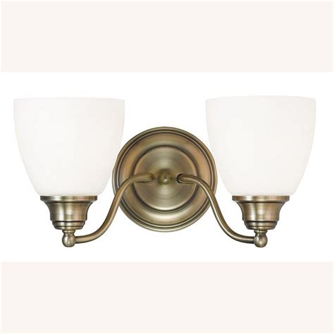 Antique Brass Bathroom Light Livex Lighting Somerville 2 Light Antique Brass Bath Light 13672 01 The Home Depot