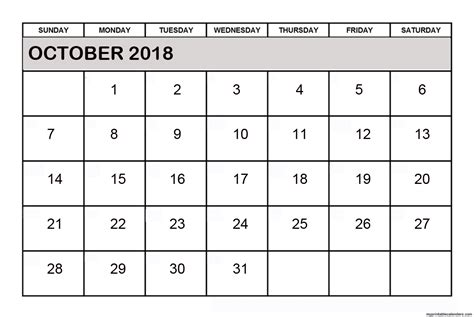Calendar October 2018 Free Printable Calendars