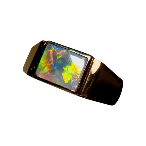 black opal mens ring black opal ring with red for men 14k gold flashopal
