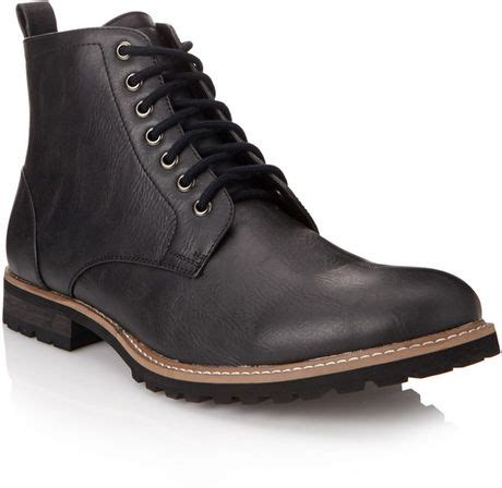faux leather boots mens 21men faux leather combat boots in black for lyst