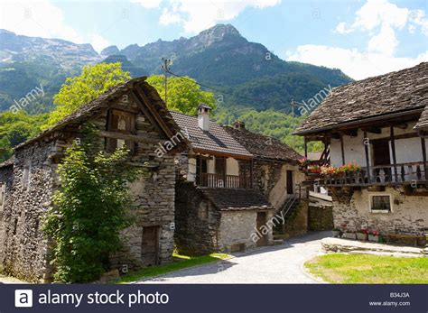 houses to buy in switzerland traditional stone farm houses costar val verzasca tocino swiss stock photo