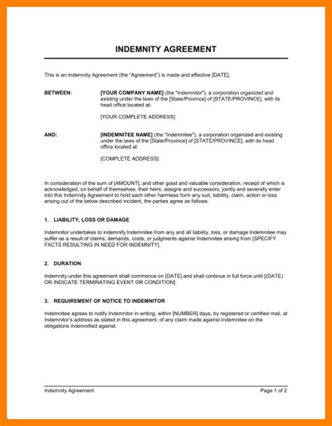 indemnification letter template indemnification letter template 28 images indemnity