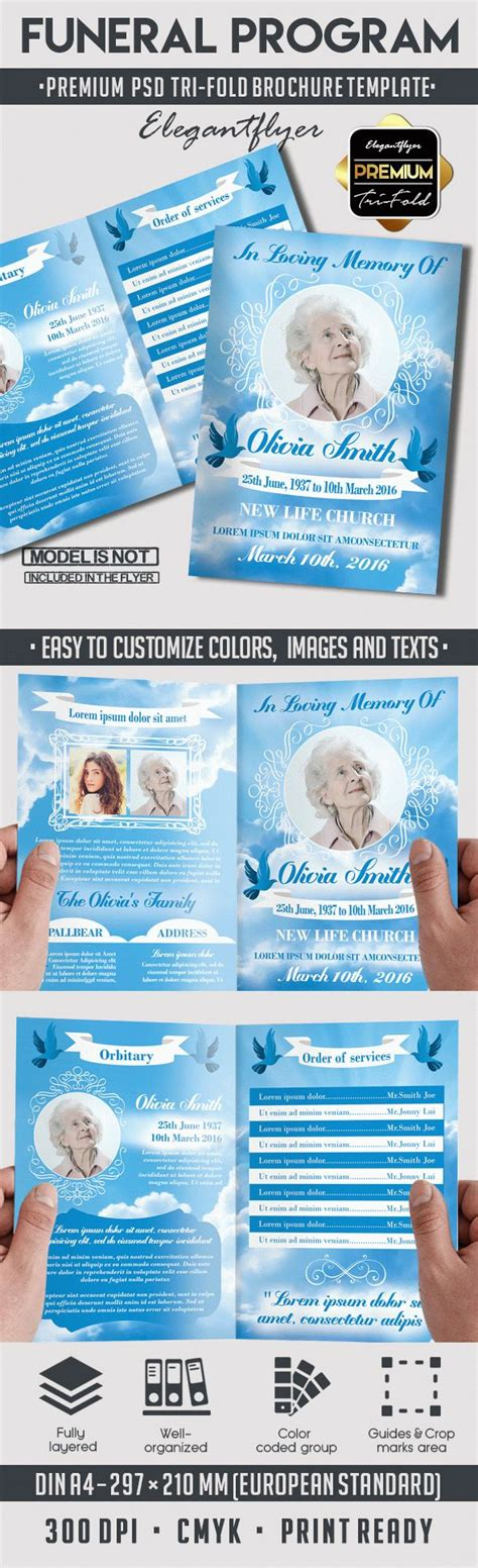 funeral card template psd in loving memory funeral program by elegantflyer