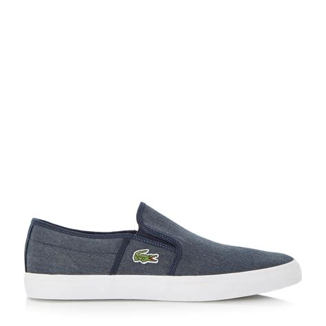 lacoste slop casual pria lacoste gazon slip on casual trainers in blue for lyst