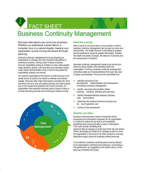 business continuity plan template australia 26 fact sheet templates in word