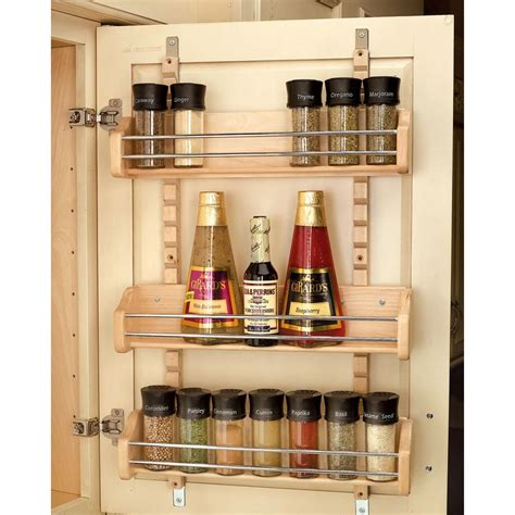 inside cabinet door spice rack rev a shelf 25 in h x 16 125 in w x 4 in d large cabinet door mount wood adjustable 3 shelf