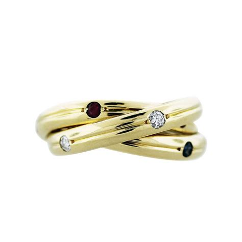 cartier 18k yellow gold ruby and sapphire