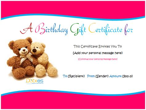 birthday gift card design template birthday gift certificate templates for and boys