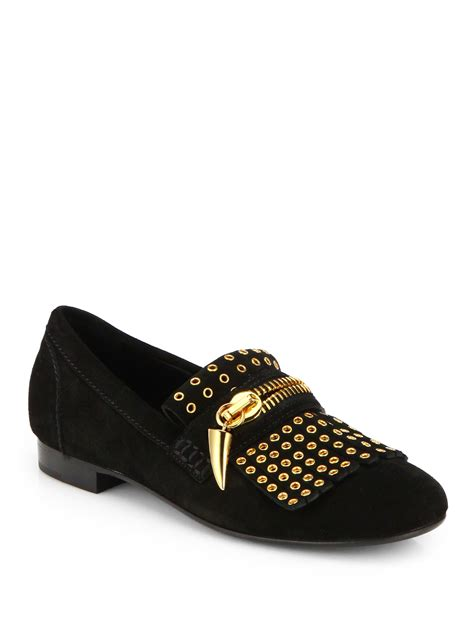 black loafers for lyst giuseppe zanotti gold chain studded loafers in