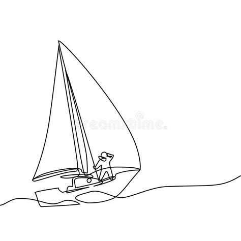 minimalist boat drawing continuous line drawing of paper boat stock vector