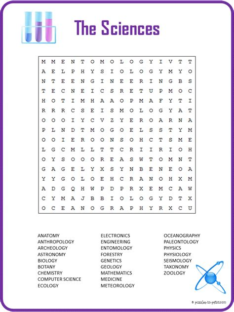 Printable Word Search Science | science word search