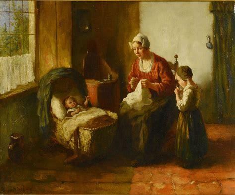 lot  bernard de hoog oil  canvas mother  children