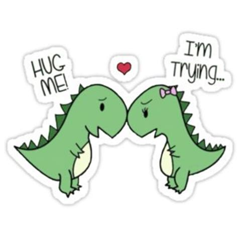 hug  im  dinosaurs  redbubble stickers