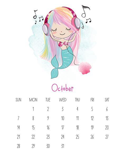 printable calendar kawaii free printable 2018 kawaii mermaid calendar the cottage