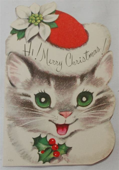 vintage  christmas cards  cats crafts  christmas  kittens