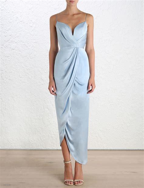 ebay zimmermann zimmermann sueded silk plunge long dress blue cocktail