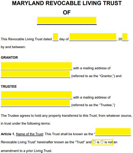 Free Maryland Revocable Living Trust Form Word Pdf Eforms Free Fillable Forms Living Trust Template California