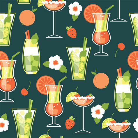 vector pattern summer summer cocktails seamless pattern photoshop vectors