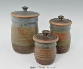 Pottery Kitchen Canister Sets by Handmade Pottery Canister Set Oasis Glaze Giftedpottery Com