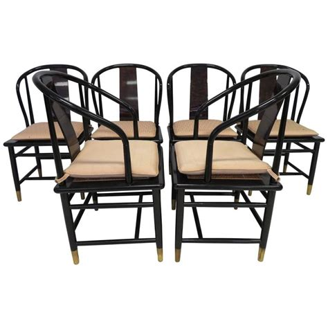 set of six henredon dining chairs in walnut at 1stdibs fabulous set of six scene three asian style lacquered