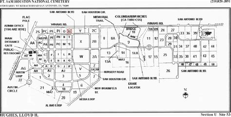 fort sam houston texas map hughes grave marker