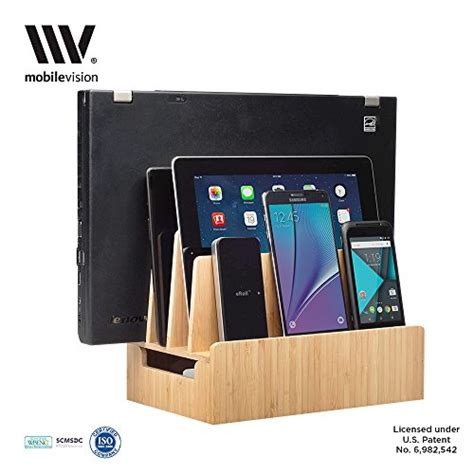 amazon com multi device charging station organizer imlezon 6 port mobilevision bamboo charging station multi device