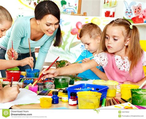 painting for teachers children with painting stock photography image